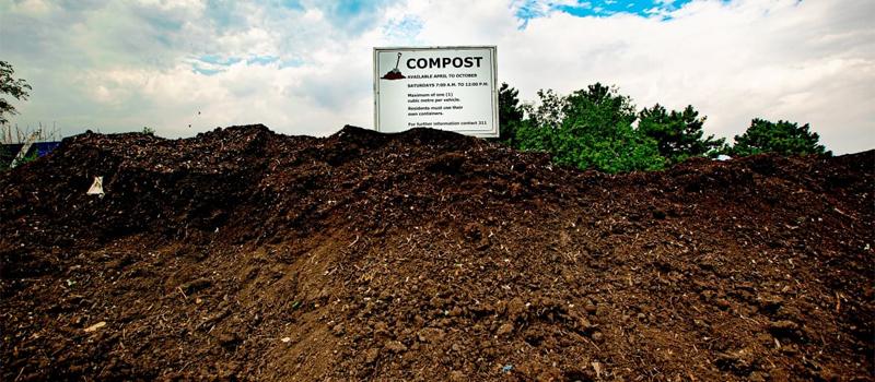 Organic Manure Compost Pile in Fertilizer Manufacturing Factory.